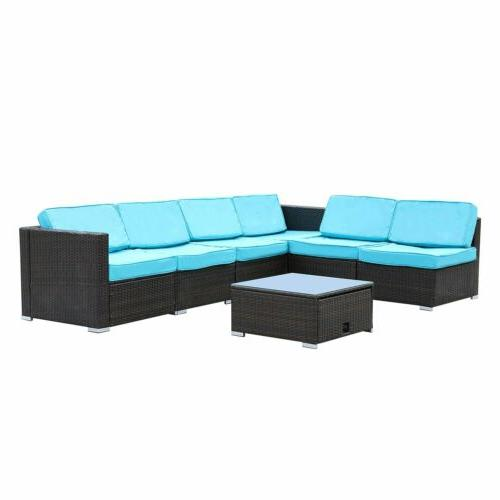 7 PCS Outdoor PE Wicker Set Sectional Cushioned Yard
