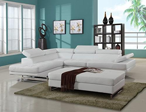 Blackjack Furniture Leather Match Left-Facing Sectional, White, Piece