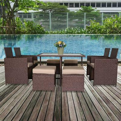 9 PCS Patio Home Furniture Sectional Sofa Set Outdoor Rattan