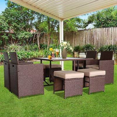 9 PC Patio Rattan Wicker Sofa Set Sectional Cushioned Chair