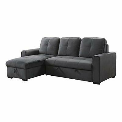 """93"""" x 61"""" Sectional Sleeper with Storage, Gray"""