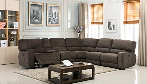 Blackjack Sectional Chanille, Power Sofa, Brown