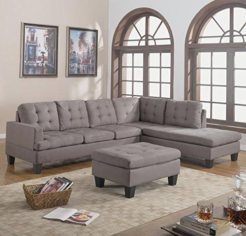 Casa Andrea Milano 3pc Modern Reversible Grey Charcoal Secti
