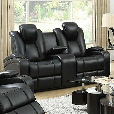 Delange Reclining Power Loveseat with Adjustable Headrests a