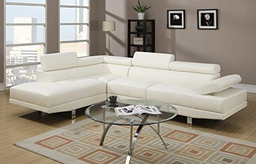 Poundex 2 Faux Leather Sectional