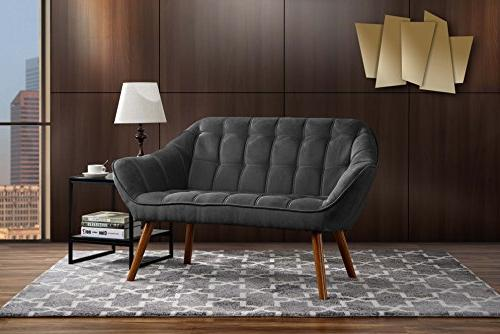 Vintage Style Couch for Living Room, Tufted Linen Fabric Lov