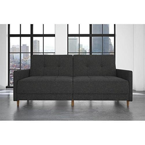 DHP Andora Futon Sofa Bed Couch with Mid Century -