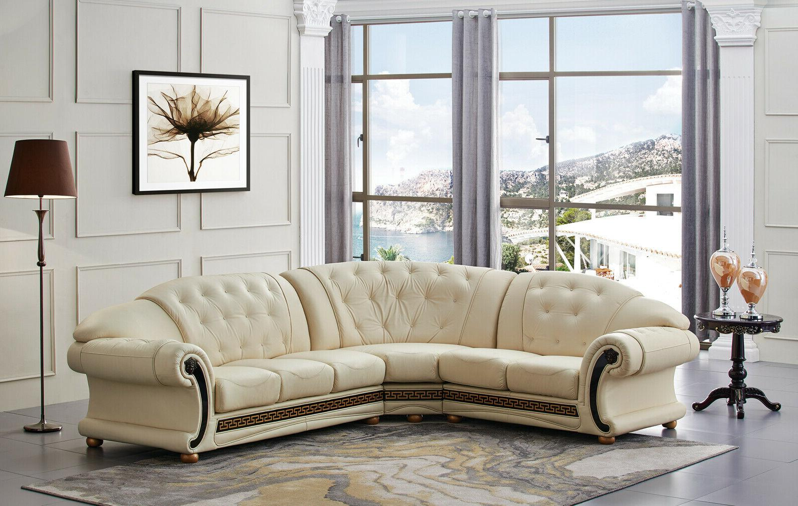 apolo sectional sofa in ivory color 100