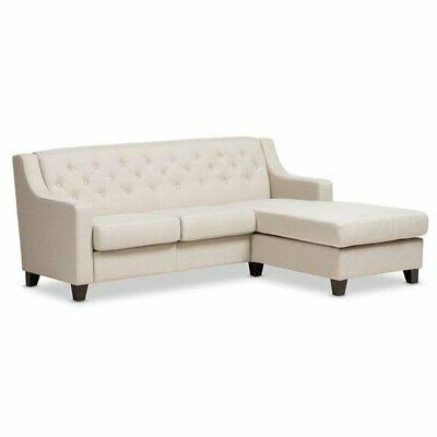arcadia fabric upholstered sectional sofa in beige