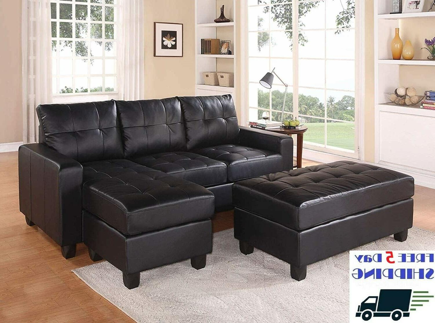 Best Black Bonded Leather Sectional Sofa Reversible Chaise O