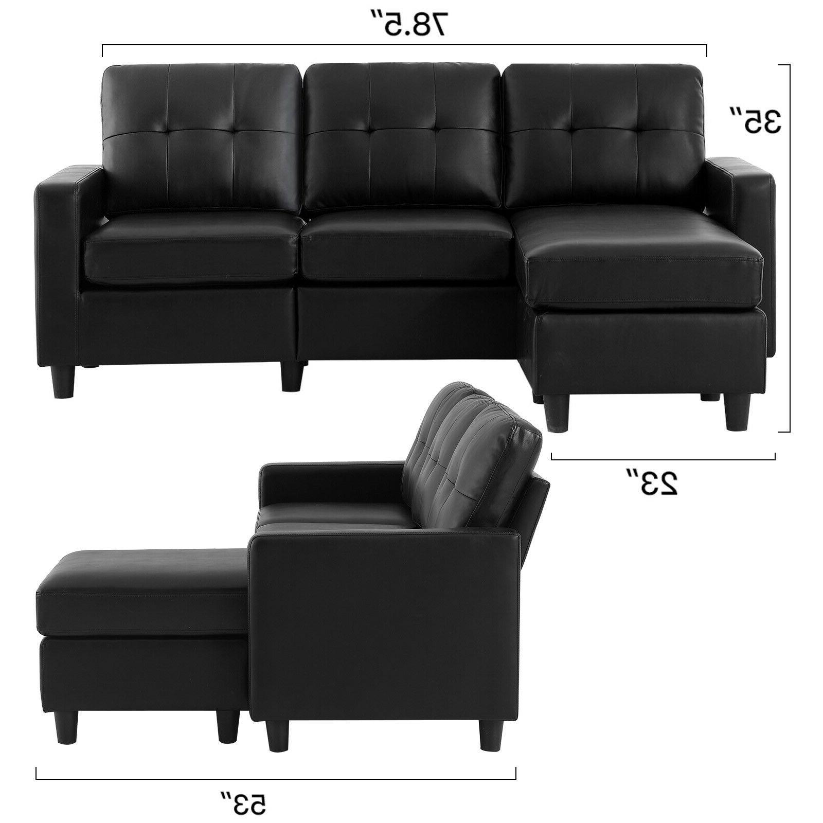 Black Leather Sectional Sofa L-Shaped Couch Chaise Space