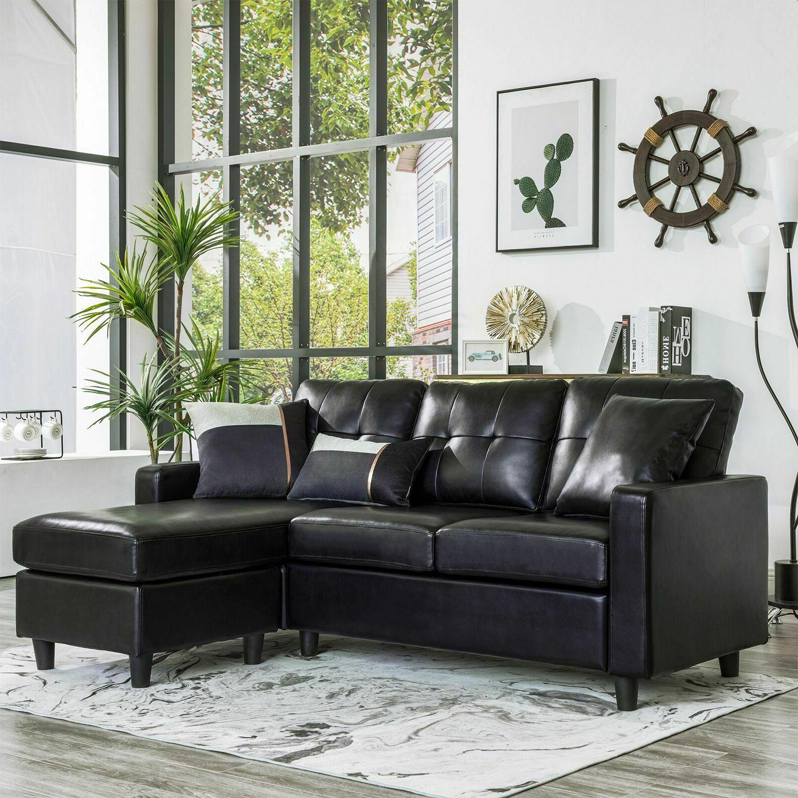black faux leather sectional sofa l shaped