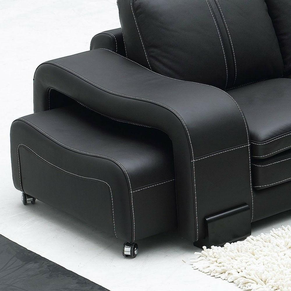 Black Italian Leather Sofa with Table and