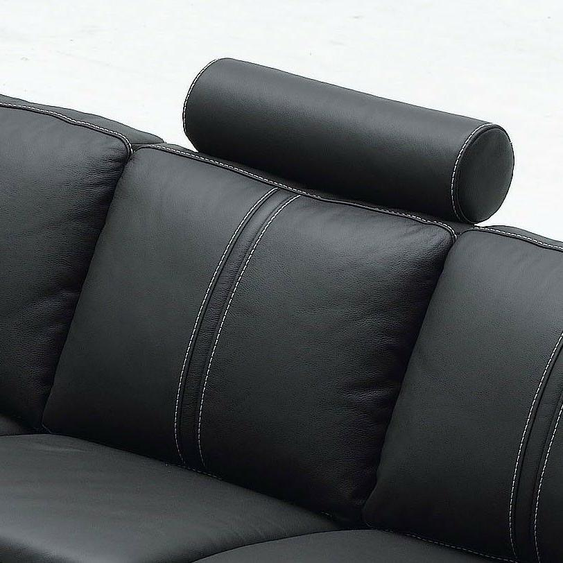Black Sectional Sofa with Headrest, Table