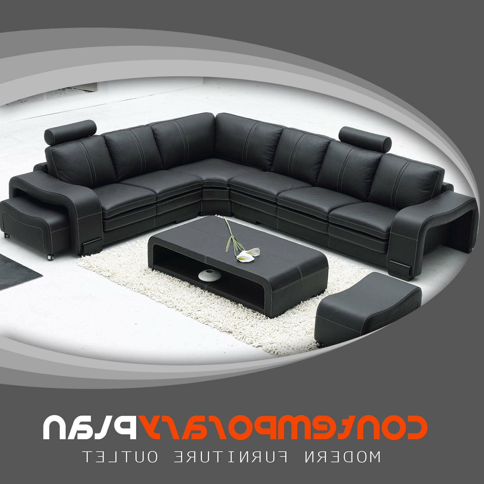 black italian leather sectional sofa with headrest