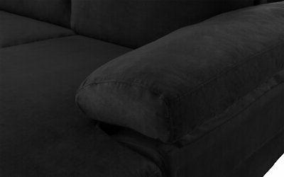 Black Large Sectional Sofa, L-Shape Couch with Wide