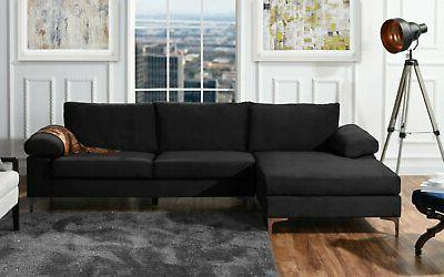 Black Large Velvet Fabric Sectional Sofa, L-Shape with Extra Wide