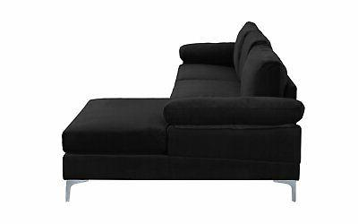 Black Sectional Sofa, with Extra Wide Chaise