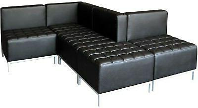 Black Corner Armless Sectional Reception Room