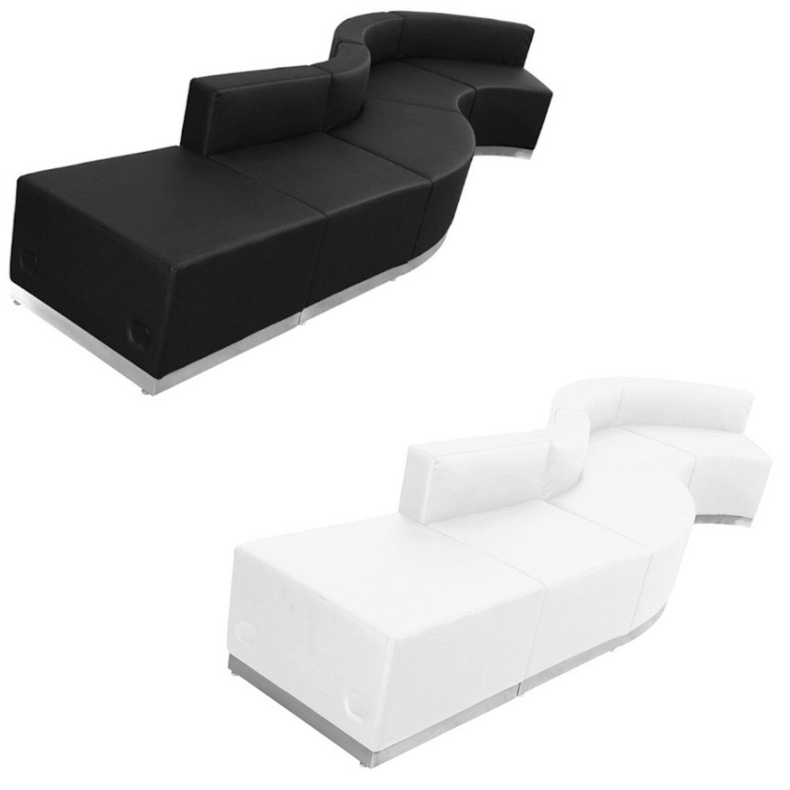 black white leather 5 pc wave sectional