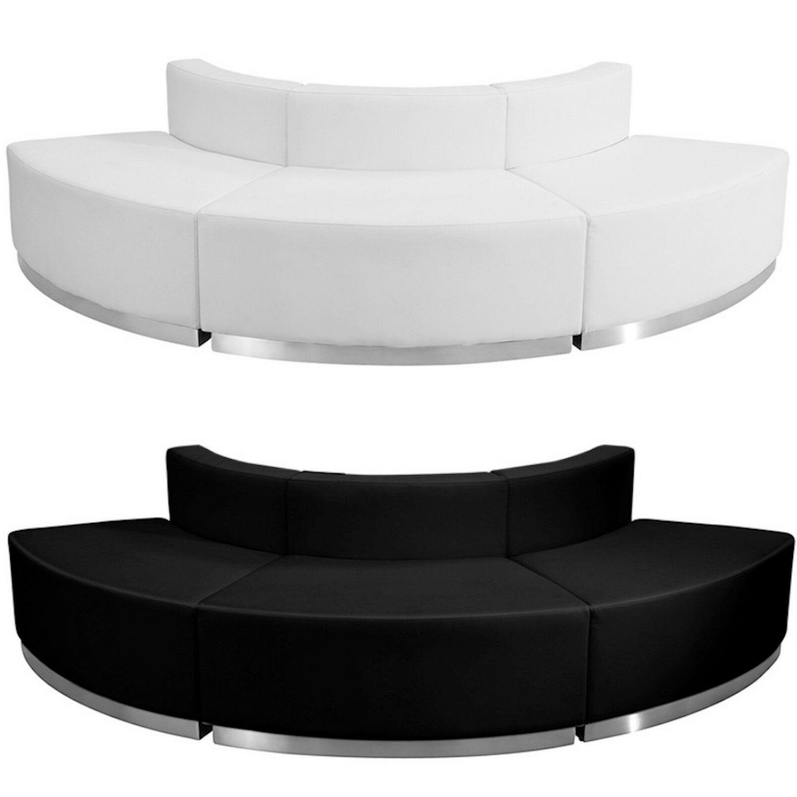 black white leather convex 3 pc sectional