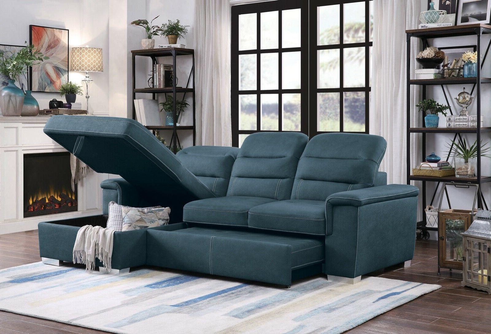 blue polyester queen sleeper storage sofa sectional