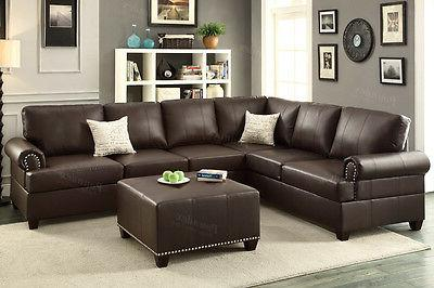 Poundex F7770 Bobkona Cady Bonded Leather Sectional in Espre