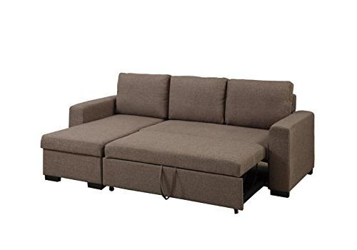 Poundex Bobkona Jassi Sectional With Compartment, Light Coffee