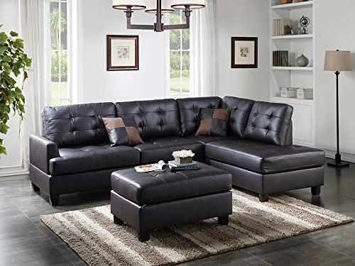 Poundex Bobkona Matthew Leather Left Right Hand with Ottoman in