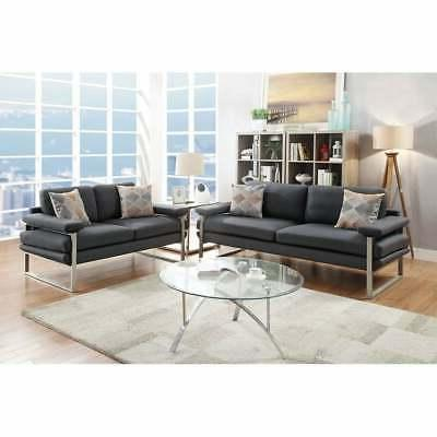 Bobkona Orel Plush Polyfabric 2-Piece Sofa and Loveseat Set.