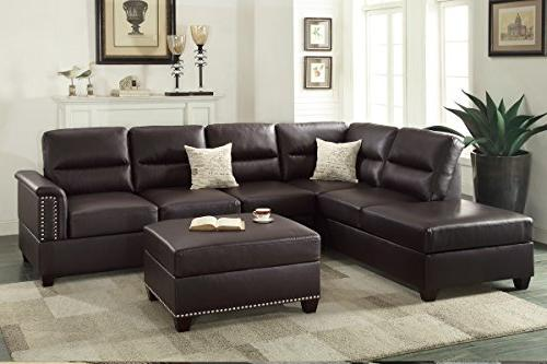 Poundex F7609 Toffy Bonded Leather Right Hand Chaise with Ottoman Set,