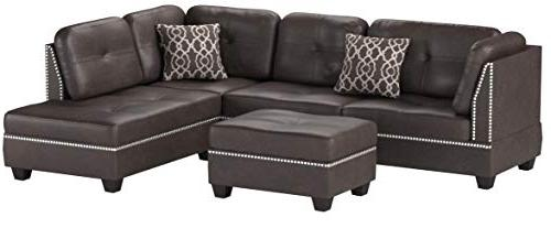 Poundex Bobkona Faux Left Right Sectional Set Ottoman , Espresso