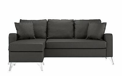 Bonded Leather Sofa - Small Matching Pillows Dark