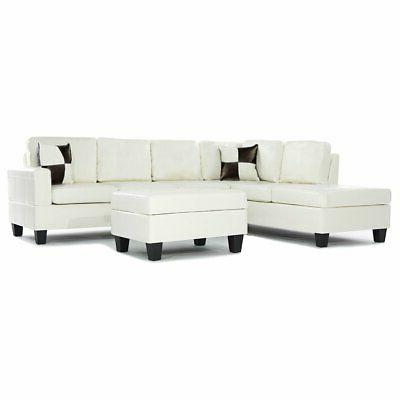 Modern Reversible PU Leather 3-Piece Sectional Sofa Set w/ O