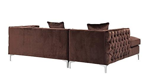 Iconic Home Velvet Modern Contemporary Tufted with Silver Trim Silvertone Right Facing Brown