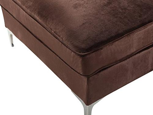 Iconic Velvet Modern with Silvertone Metal Right Facing Sofa,