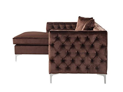 Iconic Home Modern Contemporary Tufted with Silver Nailhead Silvertone Facing Sofa,