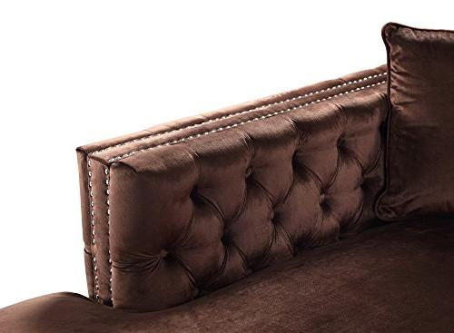 Iconic Bosch Velvet Modern Contemporary with Silvertone Right Facing Sectional Sofa,