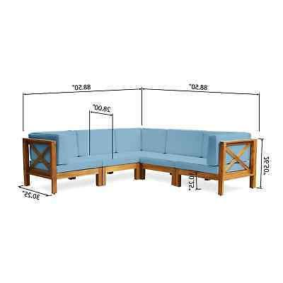 Brava 5-Seater Wood Sectional with
