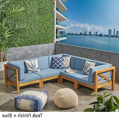 Brava Outdoor 5-Seater Wood Sofa with