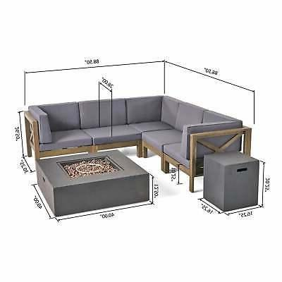 Brava Outdoor Wood Sectional Sofa with