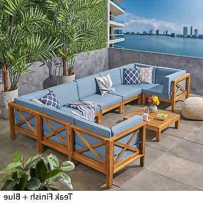 brava outdoor 8 seater acacia wood sectional