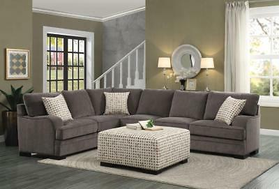 brown chenille cover sectional sofa set w