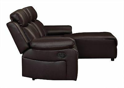 Small Brown Recliner Sectional Sofa Couch Chaise
