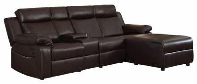 Brown Sofa with Console