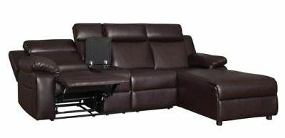 Brown Sectional Sofa Couch Chaise with Console