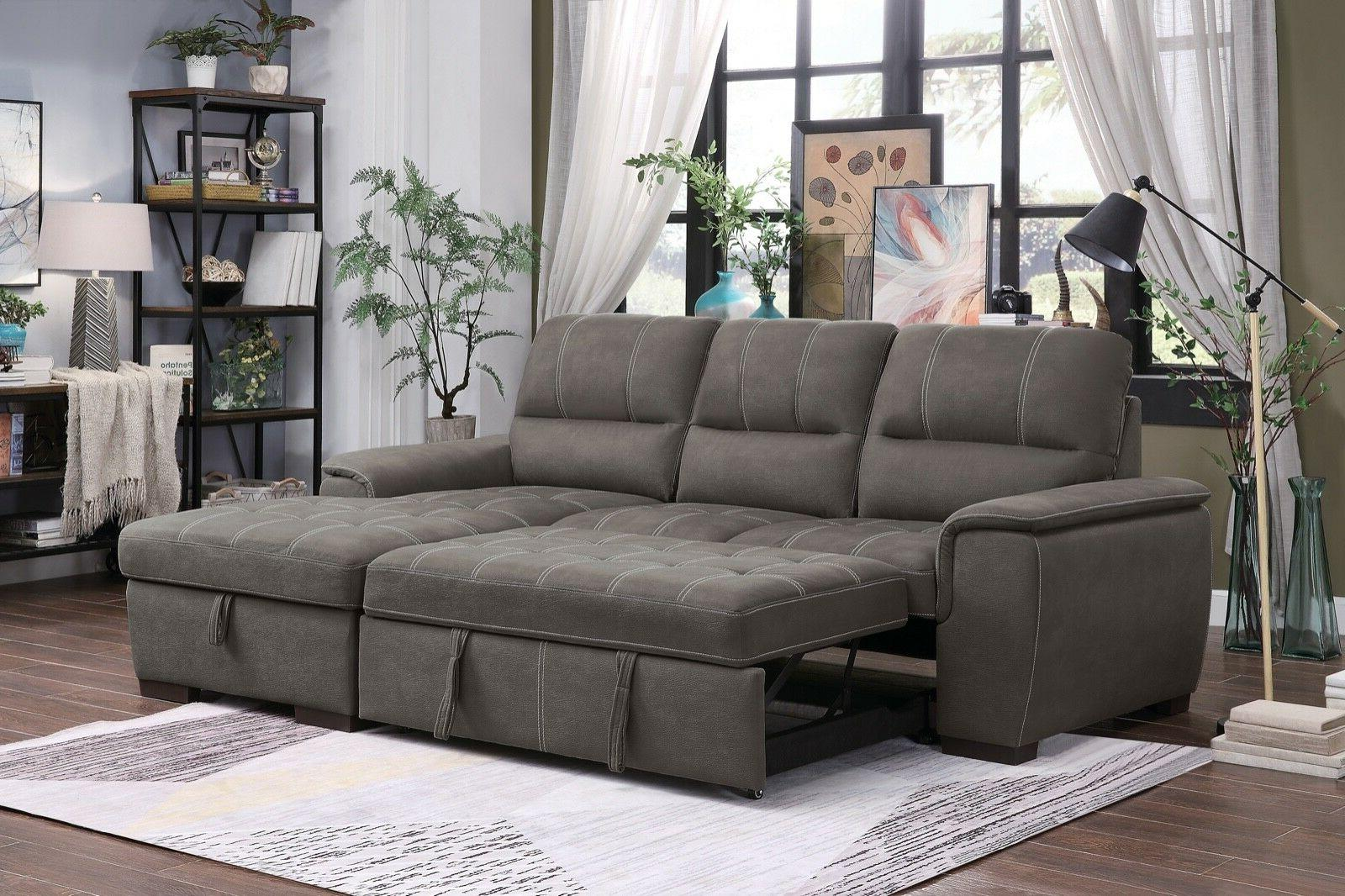 brown polyester queen sleeper storage sofa sectional