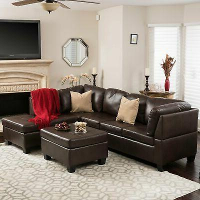 canterbury 3 piece pu leather sectional sofa