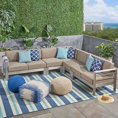 Cape Aluminum Sectional by silver cushio