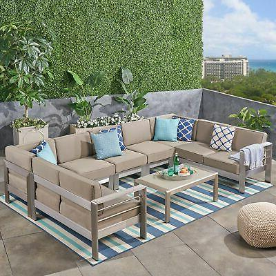 cape coral outdoor 9 seater aluminum sectional